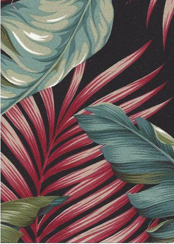 Banana Leaf Black Tropical Hawaiian banana leaf upholstery barkcloth fabric.
