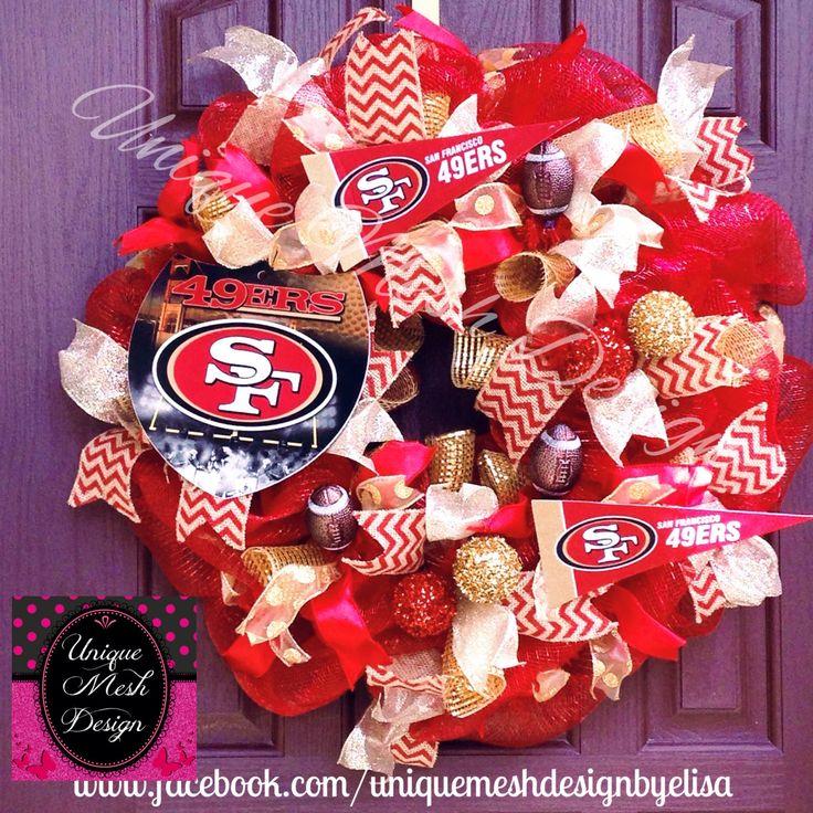 San Francisco 49ers Wreath 49ers Wreath San Francisco Wreath Football Wreath NFL Wreath by UniqueMeshDesign on Etsy
