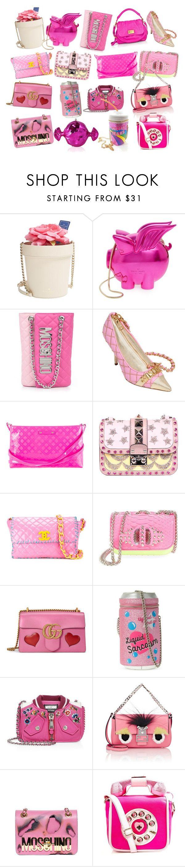 """Pink Handbags"" by sofi6277 on Polyvore featuring moda, Kate Spade, Moschino, Valentino, Chanel, Christian Louboutin, Gucci, Skinnydip, Fendi y Betsey Johnson"