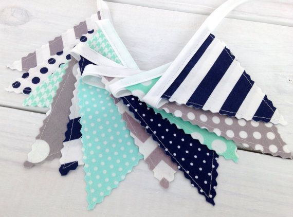 Bunting Banner Mini, Fabric Banner, Fabric Flags, Baby Boy Nursery Decor, Birthday Decoration - Mint Green,Navy Blue,Gray,Grey,Chevron,Dots