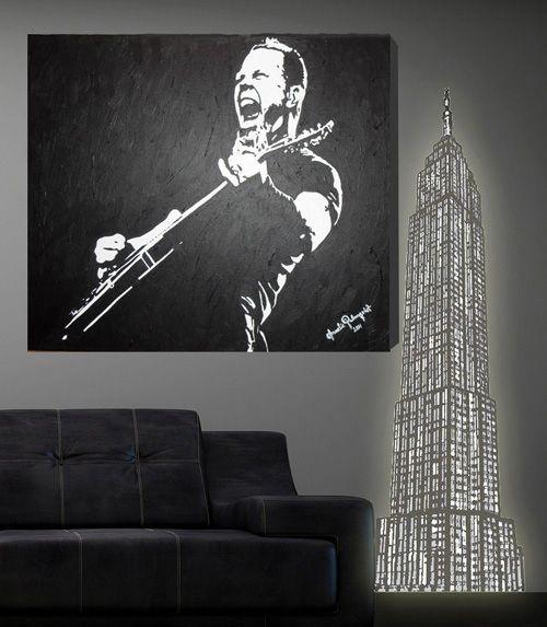 Canvastavla Metallica Handmålad i svart och vitt