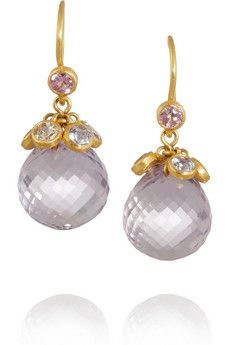 Marie-Hélène de Taillac 22-karat gold, amethyst and sapphire drop earrings | NET-A-PORTER