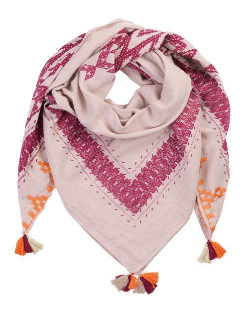 Tuch Aboyo, Quadratisches Baumwolltuch von Beck Söndergaard im angesagten Boho-Style. Warme Farben und süße Details machen dieses Tuch zu etwas Besonderem. Ideal für die kommende Saison.