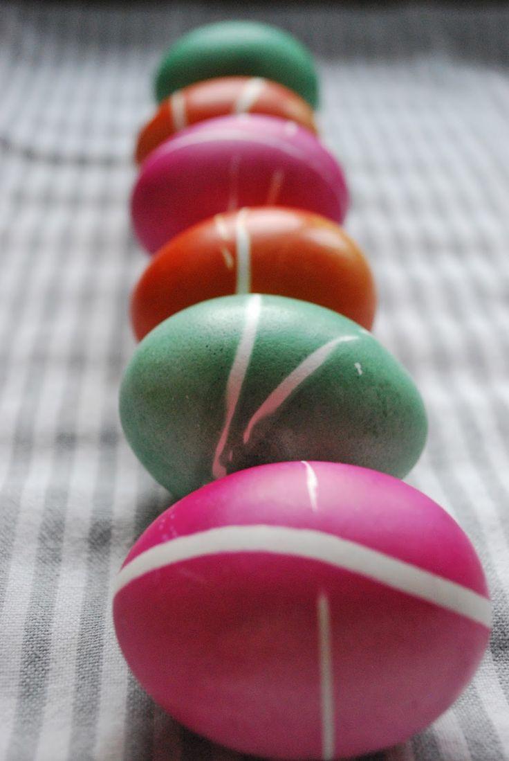 Eier färben mit Gummiringen + Zopfnestchen