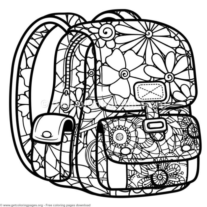 Zentangle School Bag Coloring Pages Free Instant Download
