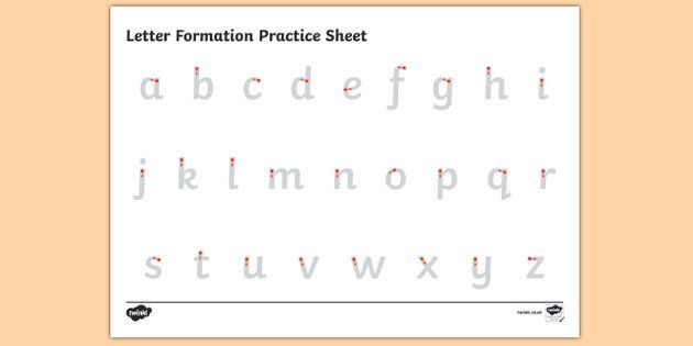 Letter Formation Alphabet Handwriting Practice Sheet (Lowercase) - letters…