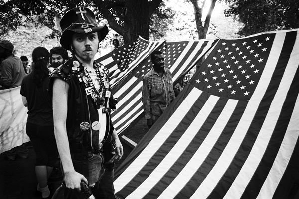 TSP 1989 homeless camp under american flags
