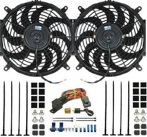 PROCOMP DUAL 14 INCH ELECTRIC FAN W/ DERALE THERMOSTAT 16739 Performance 12v Reversible Electrical Cooling Fans. 3/8 pipe thread water jacket thread-in brass probe. Thermostat activates turn on at 180'F and shuts off at 170'F. Universal fit for any application. 4000 Total CFM.  #ProcompElectronics #AutomotivePartsAndAccessories