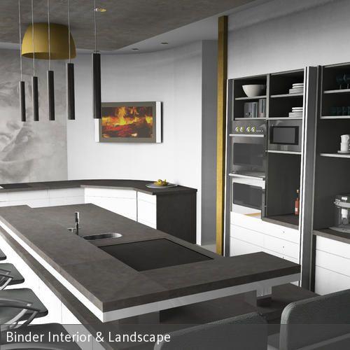 Eine moderne Küche in weiß, anthrazit und Gold. Wie eine große Wohn-Ess-Küche sein kann, sehen Sie bei Binder Interior. Lassen auch Sie Ihre Wohnräume in…