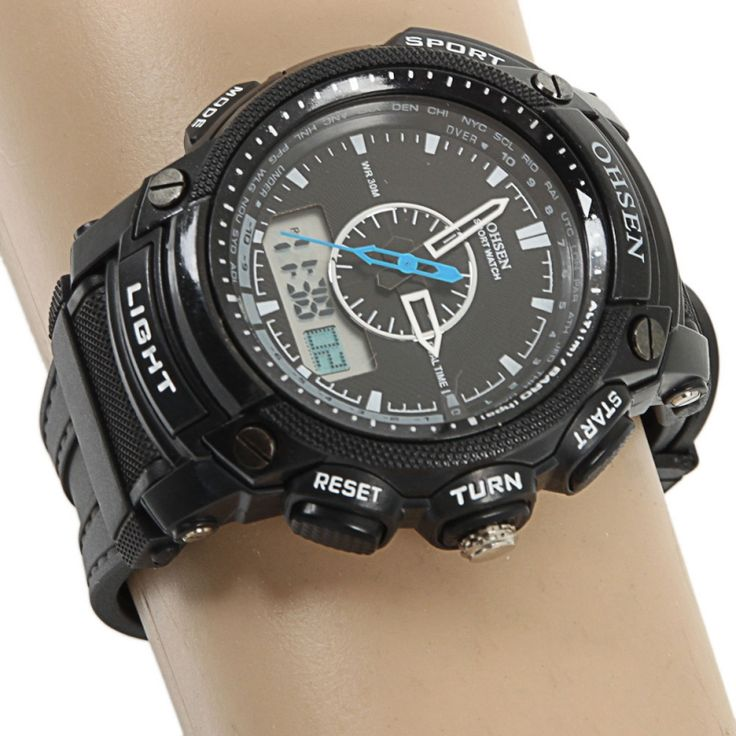OHSEN Men Women Waterproof Digital LCD Alarm Date Military Sport Rubber Quartz Wrist Watch Black - Tmart  #women #men #fashion #jewelry #watches