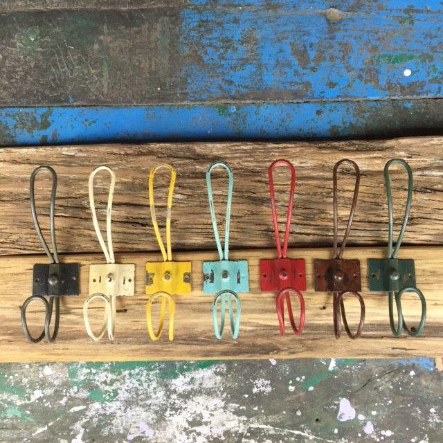 Rustic colourful metal hooks DIY coat hooks coatracks