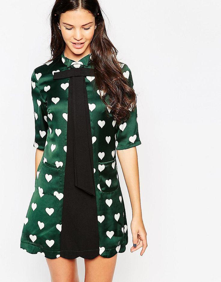 Immagine 1 di Yumi - Vestito a tunica con fiocco morbido e stampa a cuori
