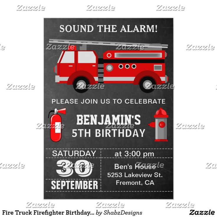 1454 best Kids 212 Birthday Invitations images – Fire Truck Party Invitations