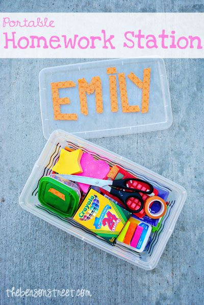 """Great idea to keep all that """"stuff"""" in one place!!! Portable Homework Station {Back to School Blog Hop} #backtoschool #schoolsupplies"""