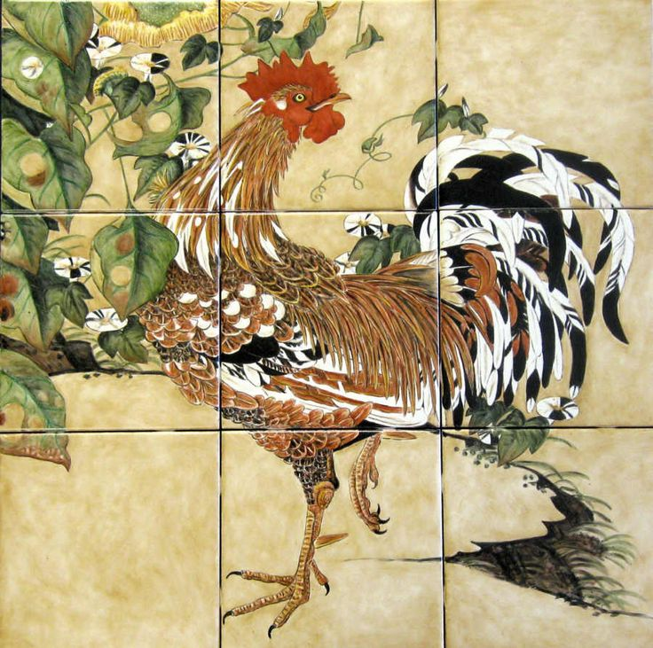Ito Jakuchu Rooster And Morning Glories Based On The Art Of Mid Edo Period Anese Painter Hand Painted 6 X Inch Ceramic Tile