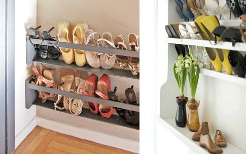 ~ DIY Vertical shoe rack.  Or you can purchase one.  Perfect solution for the narrow laundry room