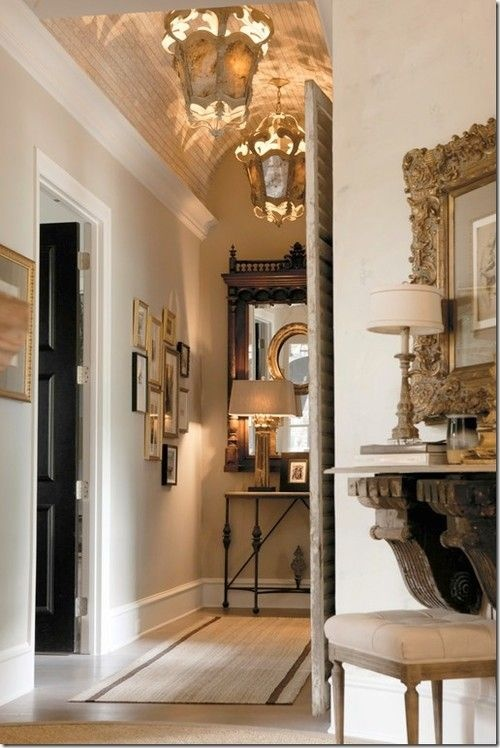 Love the shelf under the mirror made with the 2 great architectural pieces