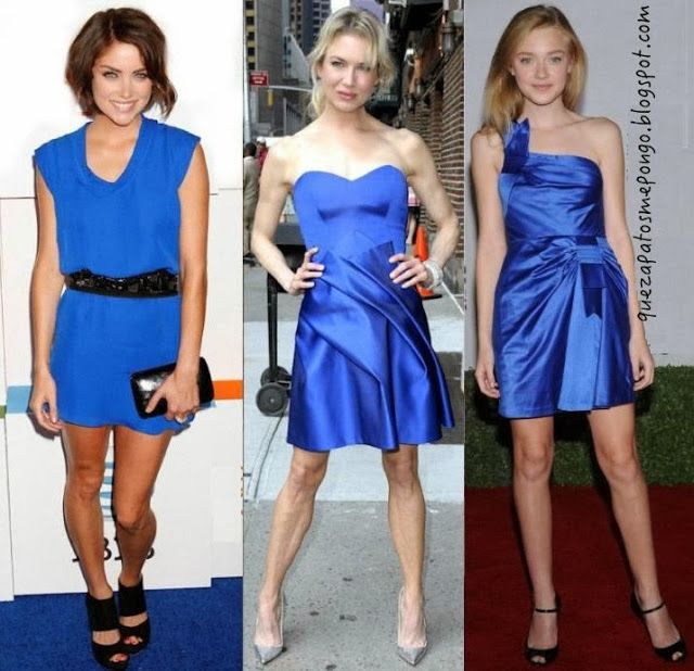 Vestido azul electrico zapatos color