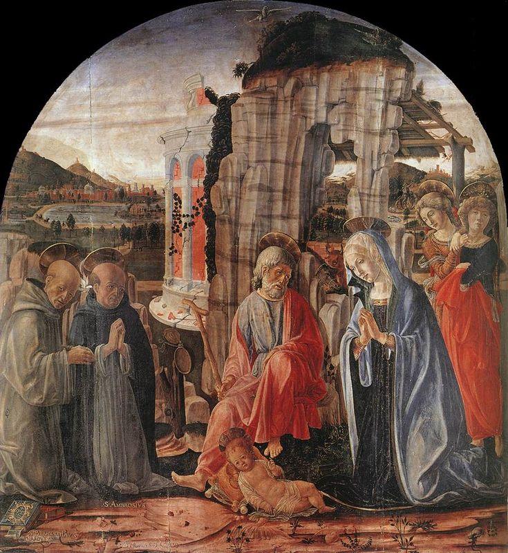 Francesco di Giorgio Martini, Pinacoteca Nazionale, Siena, 1475.  La Natività con due angeli, santi Bernardo e Tommaso d'Aquino (più propriamente un Adorazione del Bambino) è l'unica opera firmata del maestro senese Francesco di Giorgio Martini.