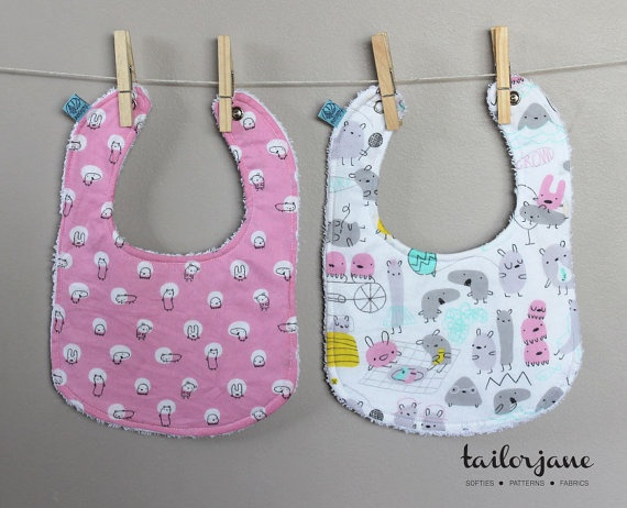 Reversible Monsterz Bib Set 2 by tailorjane on Etsy, $20.00