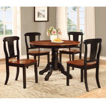 home source warm round pedestal table dining set black