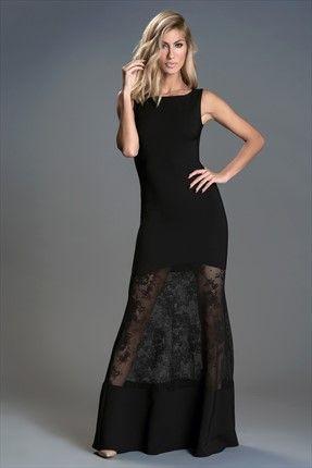 Milla by trendyol · Gece Koleksiyonu - Dantel Detaylı Siyah Elbise MLWSS156621 sadece 169,99TL ile Trendyol da