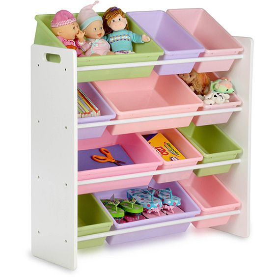 These toy organizers are perfect for playrooms and bedrooms and make for wonderful bedroom toy storage ideas. They feature colorful bins for placing toys of all sizes while keeping them visible. Your child won't have to struggle to see which toys are in which bin. The bins are also conveniently secured to the rack once they are done being used. It's great for teaching children how to stay organized and keep their room neat and tidy.