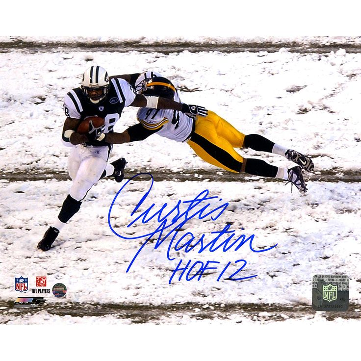 """Curtis Martin Jets Signed Breaking Tackle vs. Steelers 8x10 Photo w/ """"HOF 12"""" Insc"""