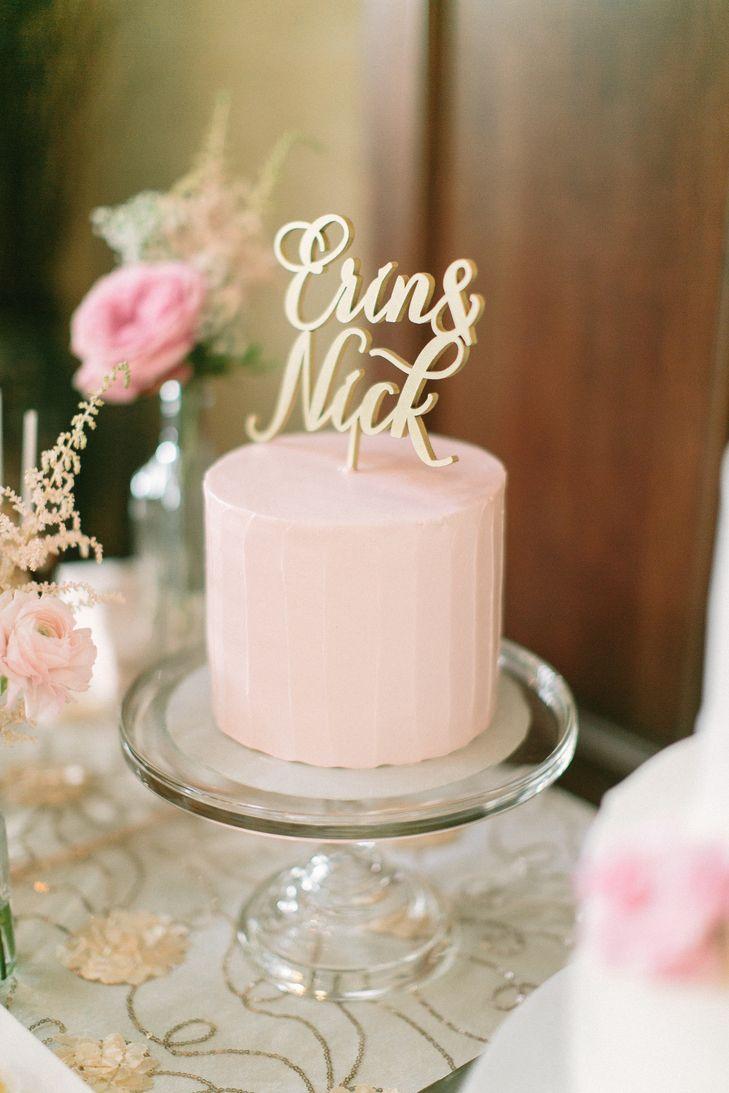 Simple, Single-Tiered Blush Wedding Cake | Sarah's Cake Shop https://www.theknot.com/marketplace/sarahs-cake-shop-chesterfield-mo-533739 | Dishy Event Planning https://www.theknot.com/marketplace/dishy-event-planning-st-louis-mo-379423 | Megan Thiele Studios https://www.theknot.com/marketplace/megan-thiele-studios-jackson-mo-309712