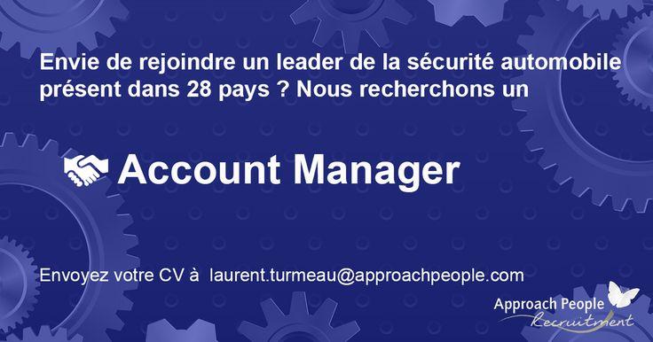 A la recherche d'un Account Manager rigoureux, réactif et communicatif ! Nous avons un CDI à pourvoir chez un leader mondial de la sécurité automobile : http://www.approachpeople.com/international/job-description/?id_job=14460 #emploi #jobs #france #manager #automobile