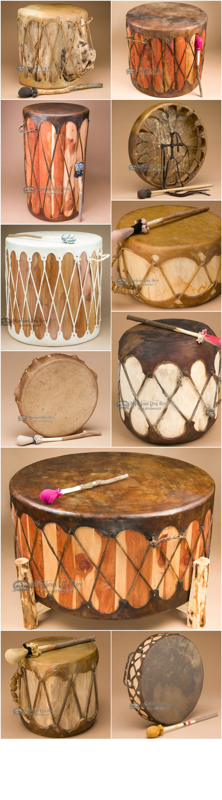 See our entire collection of Native American hand drums, hoop drums, log drums and ceremonial drums.  Weather you are looking for the perfect Native drum for personal meditation, drumming groups, or to use as southwest decor, your will love the quality craftsmanship you find at Mission Del Rey.  Sign up for our newsletter to receive exclusive discounts and coupons.