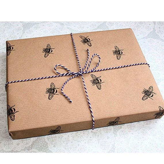 Bumble bee wrapping paper   Gift wrap   Insect prints   Brown paper   Birthdays   Handmade   Lino print   Honey bee  