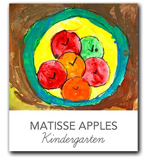 """Matisse Apples: trace around bowls and lids to create appropriate circles, fill in with paint colors, add """"v"""" marks to apples."""