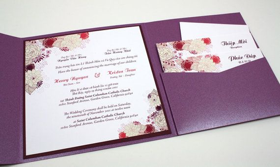 bilingual english and vietnamese oriental wedding invitations,