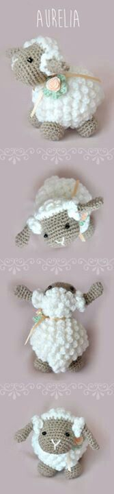 Cute crochet lamb, would make a nice baby shower gift.