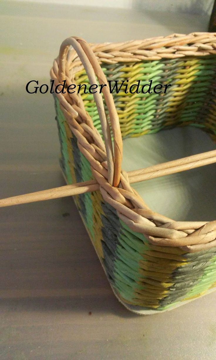 Weaving newspaper tubes: The side handle to the basket at the base of the wire is inserted. Handle. Wire. Spike.