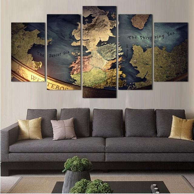 5 Panel de la Lona Impresa Juego de Tronos Mapa Pintura For Living foto Arte de La Pared HD Decoración Obras de Arte Moderno de Impresión TV Juego Poster