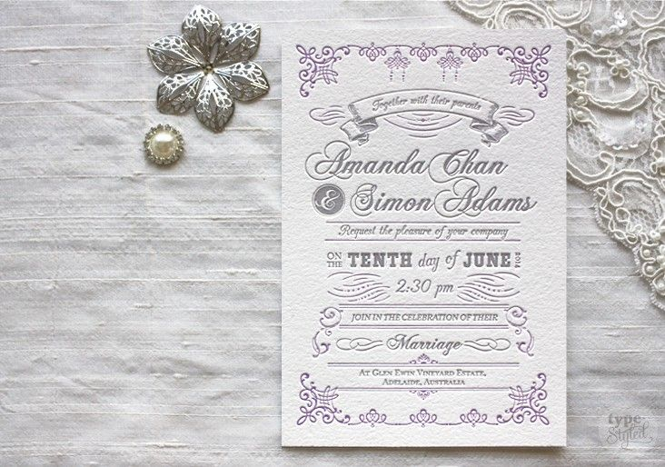 A letterpress wedding invitation inspired by the elaborate style of Marie Antoinette from Type Styled.