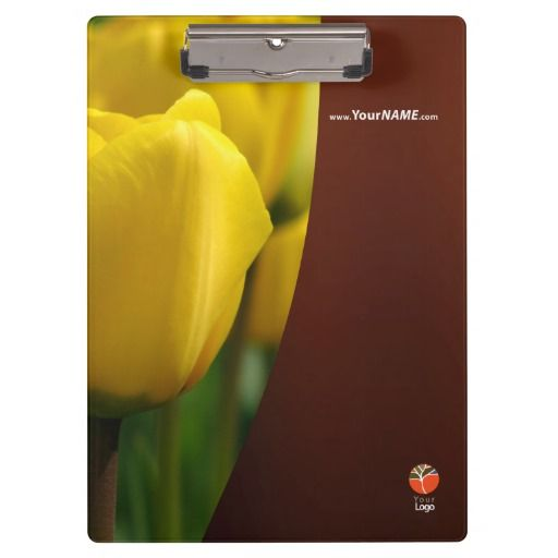 Nature clipboard with yellow tulips Customizable text and logo on both sides.