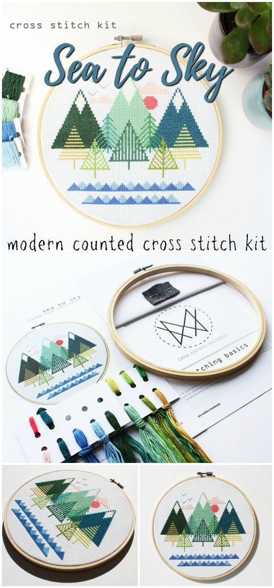 Sea to sky modern counted cross stitch kit. Mountains, trees and ocean. Perfect gift for a teen learning to cross stitch! ad #etsy #embroidery #craftkit
