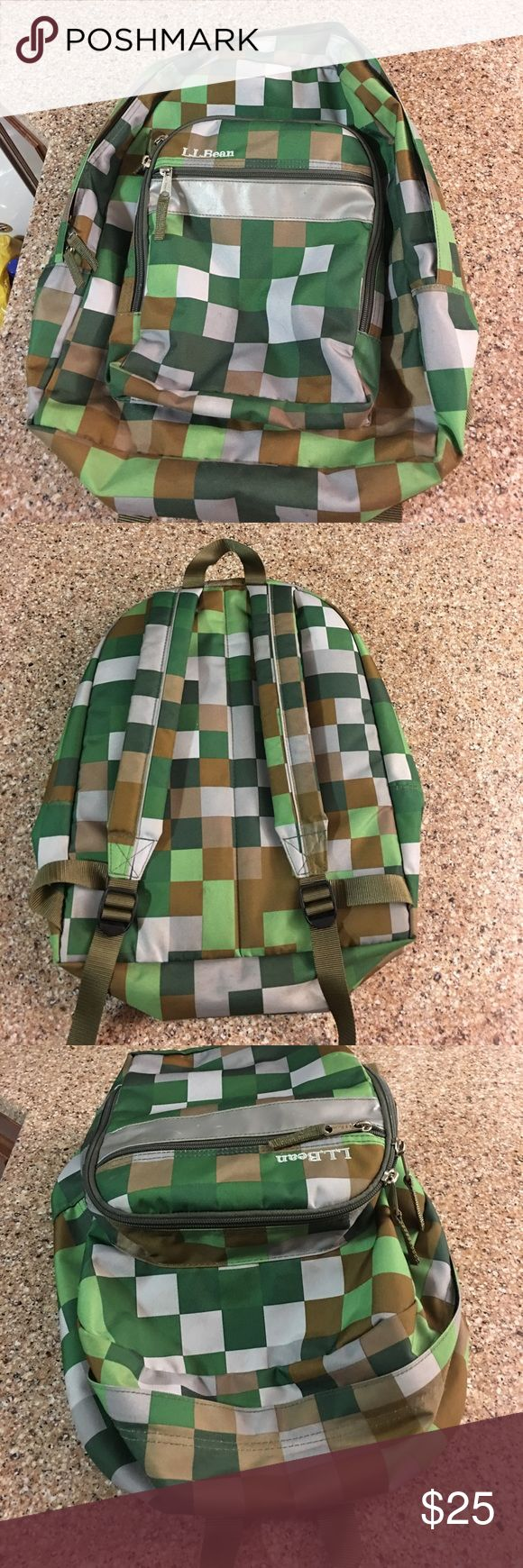 L.L Bean Green Pixel Minecraft Backpack L.L Bean Green Pixel Minecraft Backpack. Used condition some stains but a lot of life left. All zippers work. No tears. L.L. Bean Accessories Bags