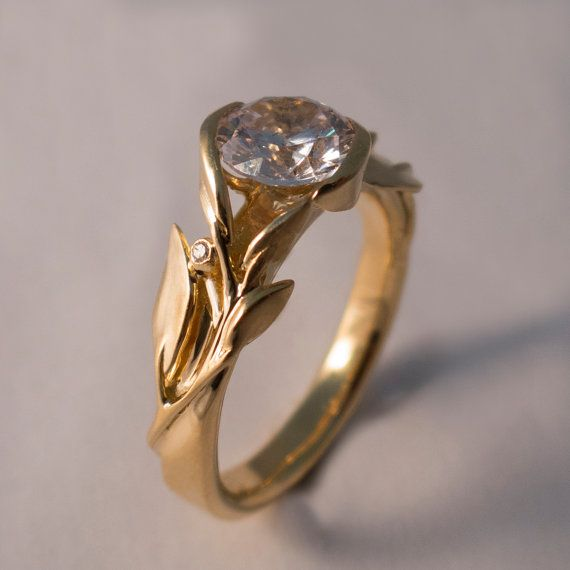 Leaves Engagement Ring No. 10 14K Gold and Diamond by doronmerav, $5300.00