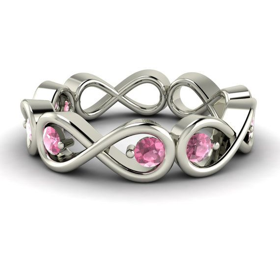Vivi's addition ring to my engagement and wedding band- Pink Tourmaline Ring  Pink Tourmaline Band  14K Gold by Diamondere, $347.00
