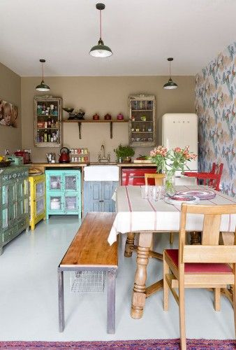 Love the coloured kitchen units, although not a fan of the walls so much!