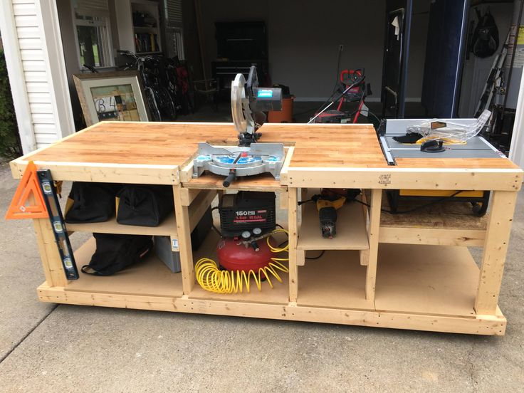 wood workbench with table saw. i built a mobile workbench wood with table saw