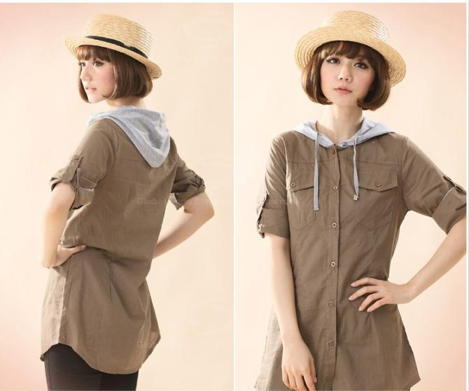 Preppy Style Single-Breasted Double Chest Pocket Convertible Long Sleeve Cotton Shirt For Women (KHAKI) China Wholesale - Sammydress.com