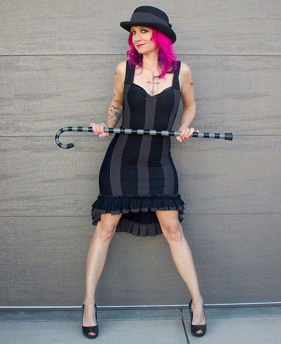 Gothic Dress  Steampunk Dress  Striped Dress  Made to Order