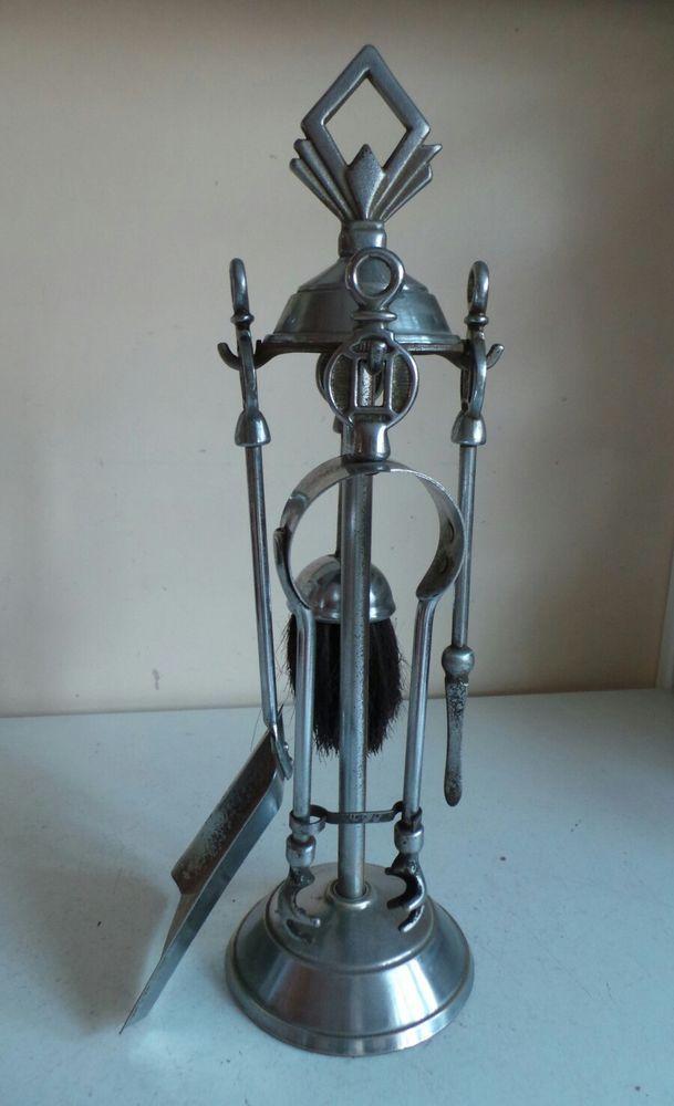 Vintage Silver Chrome Metal Fireplace Fire Companion Set Shovel Brush Poker Tong