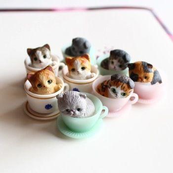 8 шт. / милая кошечка / миниатюры / прекрасная чашка кошек / животные / фея садовый гном / террариум украшения / ремесла / бонсай