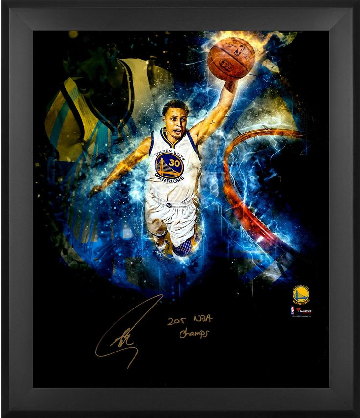 """Stephen Curry Golden State Warriors Framed Autographed 20"""" x 24"""" 2015 NBA Finals In-Focus ..."""